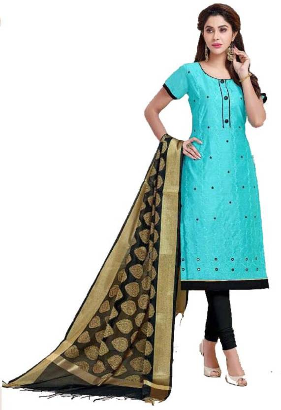 96619f30fc D.S.FABRICS Chanderi Cotton Embroidered Semi-stitched Salwar Suit Dupatta  Material Price in India -