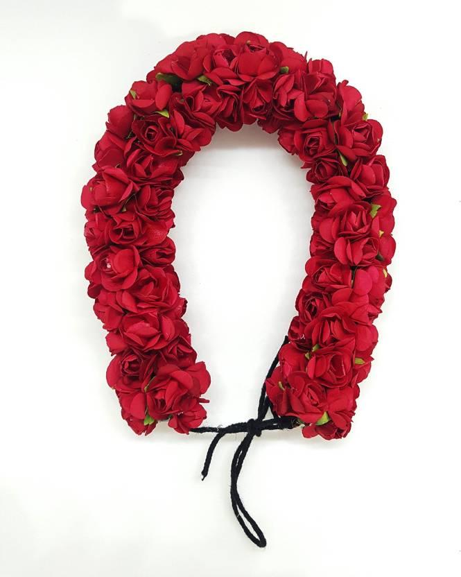 a3204ec3b61b0 Confidence Bridal Hair Accessories For Wedding Bun Decoration Flowers Gajra  (Red) Bun (Red)