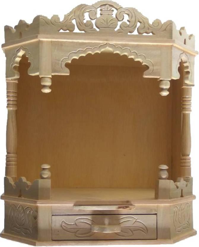 Teakwood Sevan Wood Open Front Round Designed Temple Pooja