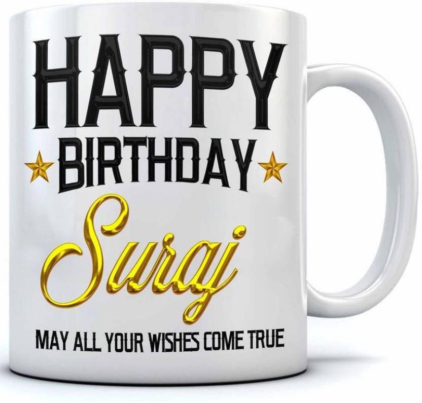 ramposh happy birthday suraj name printed ceramic coffee 350 ml