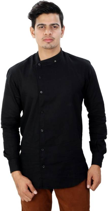 2066f0b63e8 INKYBONY Men s Solid Party Black Shirt - Buy INKYBONY Men s Solid Party  Black Shirt Online at Best Prices in India