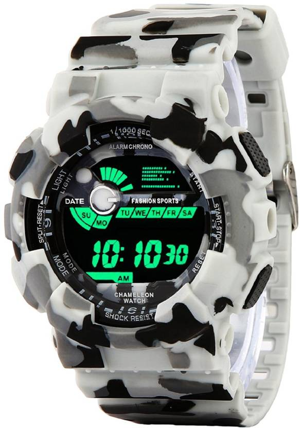 sports product face watch watches digital uzi campco black gunmetal w rectangular