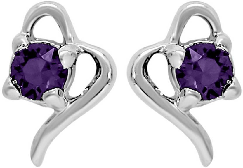 Mahi Violet Victorian Heart Swarovski Crystal Alloy Stud Earring