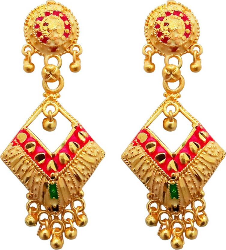 171229765 Kriaa by JewelMaze Pink Meenakari Gold Plated Dangler Earrings-1311773 Alloy  Drops & Danglers. Home · Jewellery