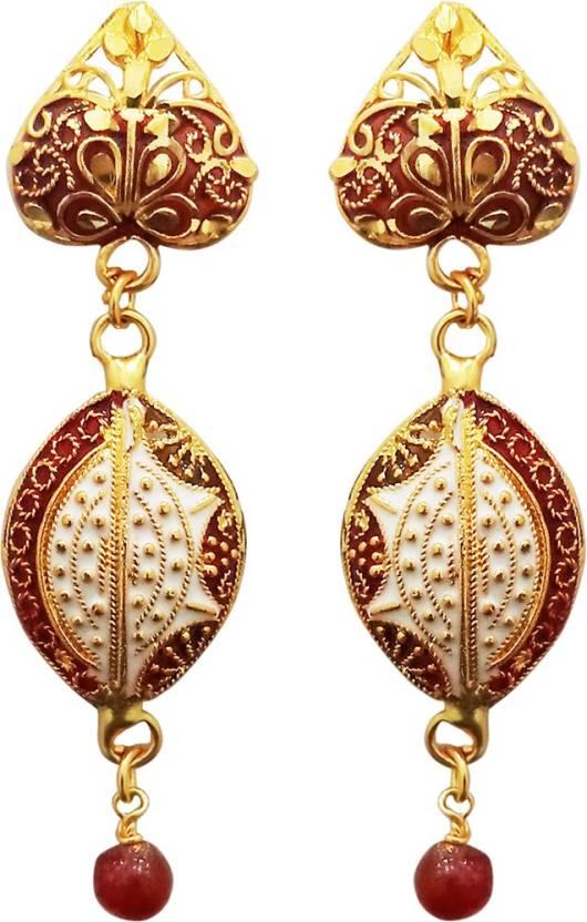 e39a84d5f Flipkart.com - Buy Kriaa by JewelMaze Gold Plated Meenakari Dangler Earrings-1311766  Alloy Dangle Earring Online at Best Prices in India