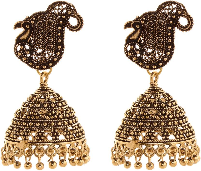 f3db98b9a Flipkart.com - Buy Saadgi Peacock Design Trendy German Silver Jhumki Earring,  Dangle Earring Online at Best Prices in India