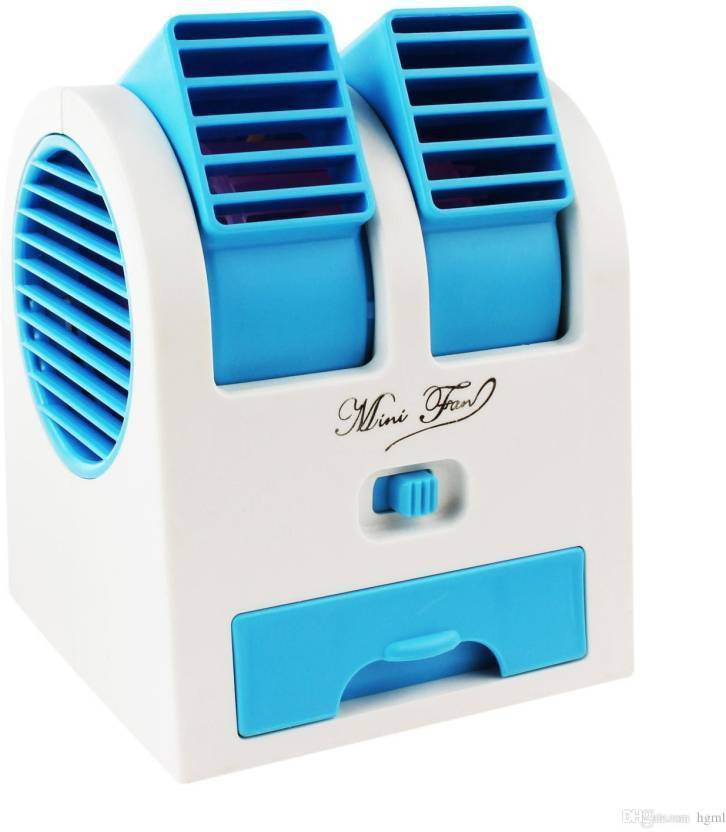 Shivaay Trading Co  Mini Fan & Portable Dual Bladeless Small Air  Conditioner Water Air Cooler Powered By Usb & Battery Use Of  Car/Home/Office ( Multi