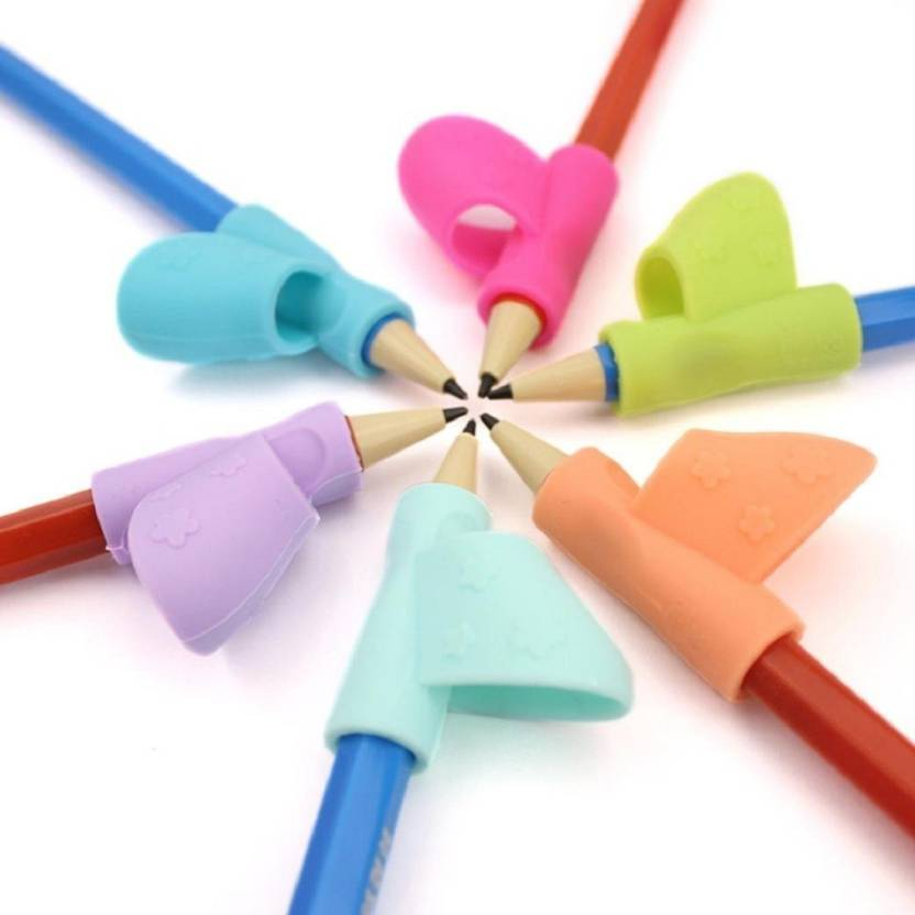 Cubern 6PCS Set Pencil Grips Silicone Ergonomic Writing Claw Aid Flower Handle Style Pencils Training