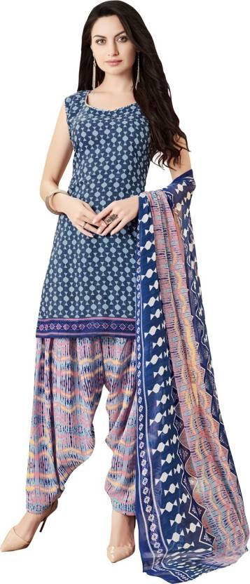 Ratnavati Cotton Printed Salwar Suit Dupatta Material Unstitched