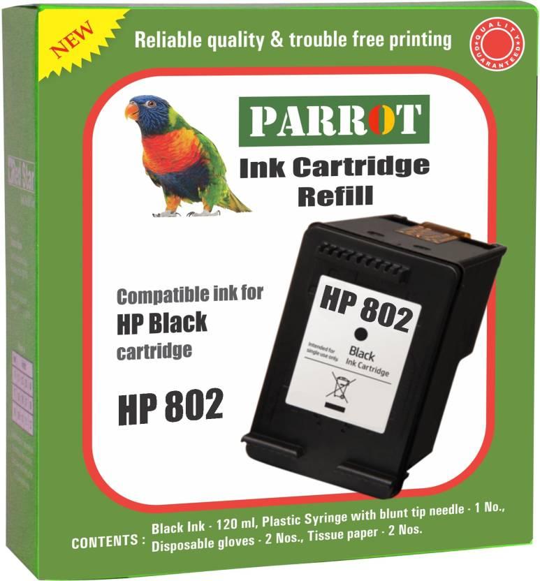 Parrot ink cartridge refill for hp 802 cartridge Single Color Ink Cartridge (Black)