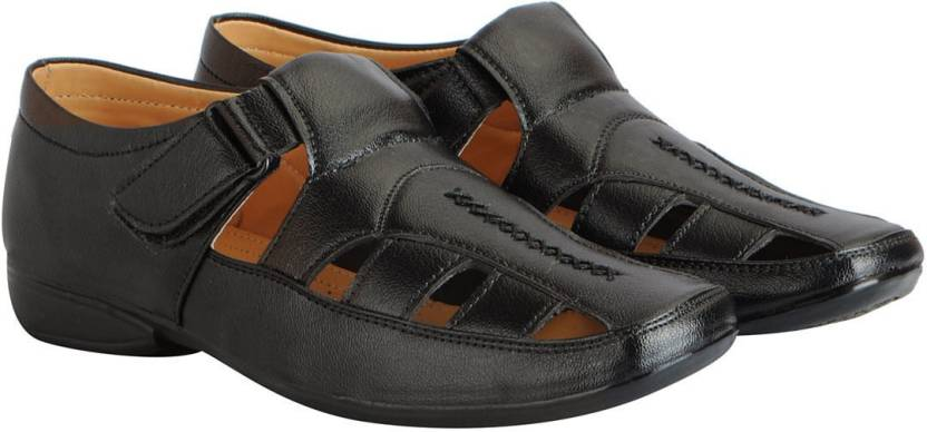 f0b73a49da9a FAUSTO Men Black Sandals - Buy FAUSTO Men Black Sandals Online at Best  Price - Shop Online for Footwears in India