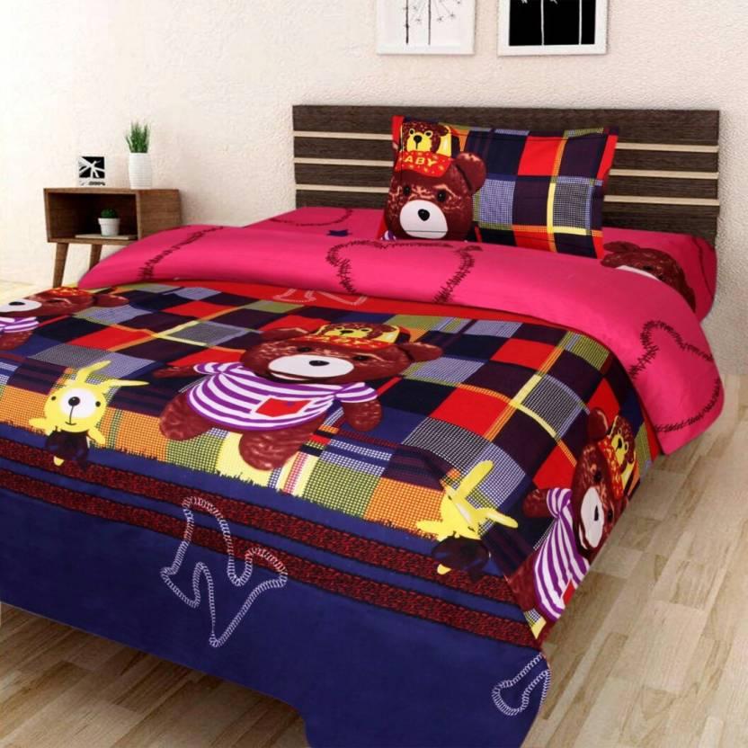 1cc38d0af8 TrueValue Creations 200 TC Polycotton Single 3D Printed Bedsheet (Pack of  2, Multicolor)