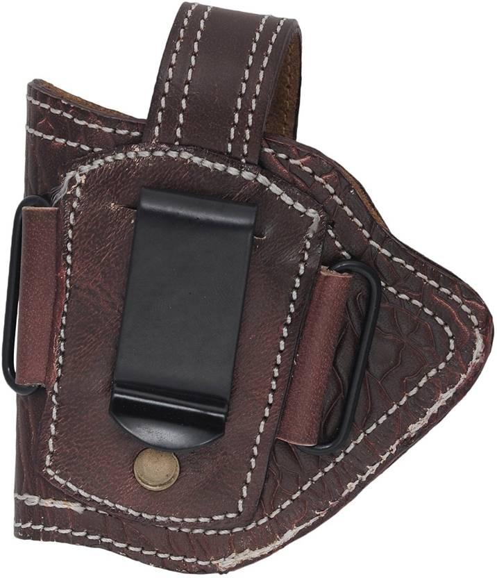 Purwanchal Leather Carved Half Revolver/Pistol Holster (Dark