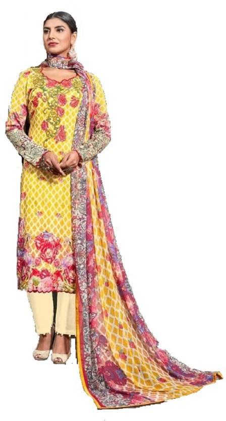 Smart Embroidered Pakistani Indian Designer Piece Lawn Unstitched Shalwar Kameez Suit Women's Clothing Clothes, Shoes & Accessories