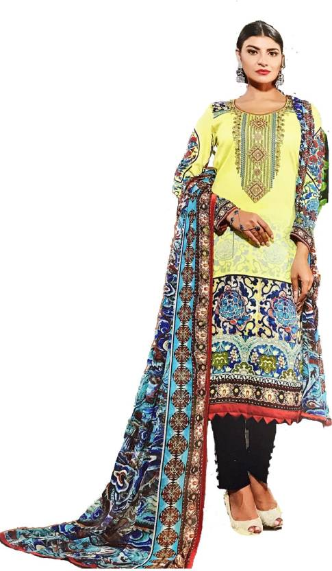 a71feff88e D.S.FABRICS Lawn Fabric Embroidered, Printed Salwar Suit Dupatta Material