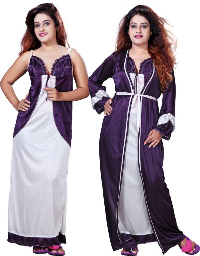 f183bd67327 Mahaarani Women s Nighty with Robe - Buy Purple Mahaarani Women s ...