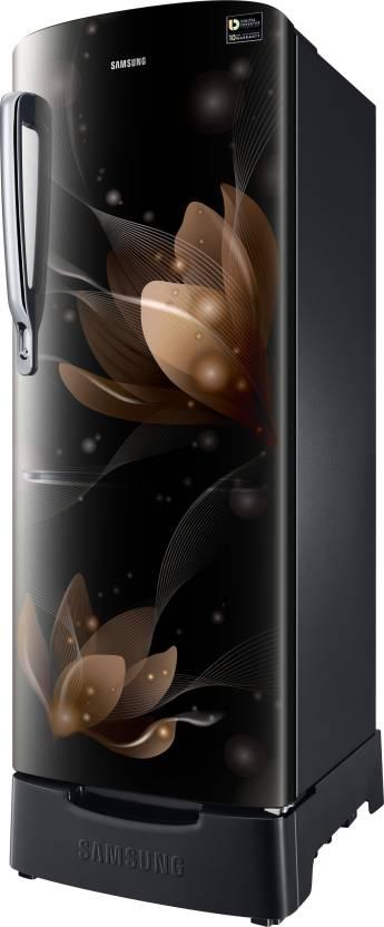 Samsung 212 L Direct Cool Single Door 5 Star Refrigerator(Blooming Saffron Black, RR22N385YB8/HL)