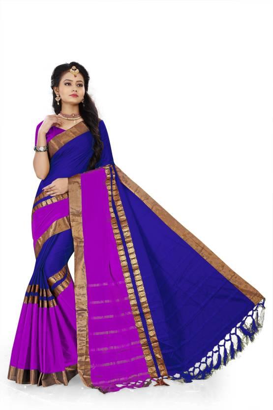 60168764a0ef3f The Fashion Outlets Woven Banarasi Cotton, Silk Saree (Gold, Purple, Dark  Blue)