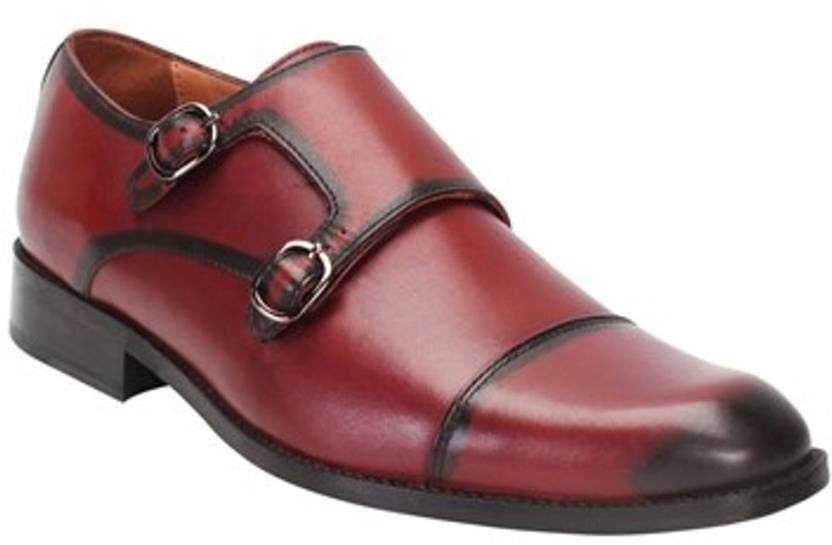 a9b53c2e5364 BRUNE WINE COLOR GENUINE LEATHER CAP TOE DOUBLE MONK STRAP FORMAL SHOES BY  BRUNE Monk Strap For Men (Maroon)