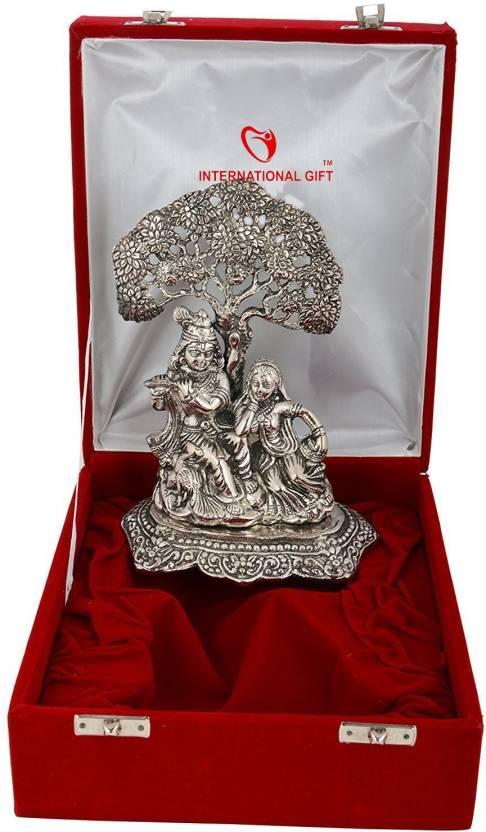 International Gif Silver Plated Radha Krishna God Idol 22 Cm With