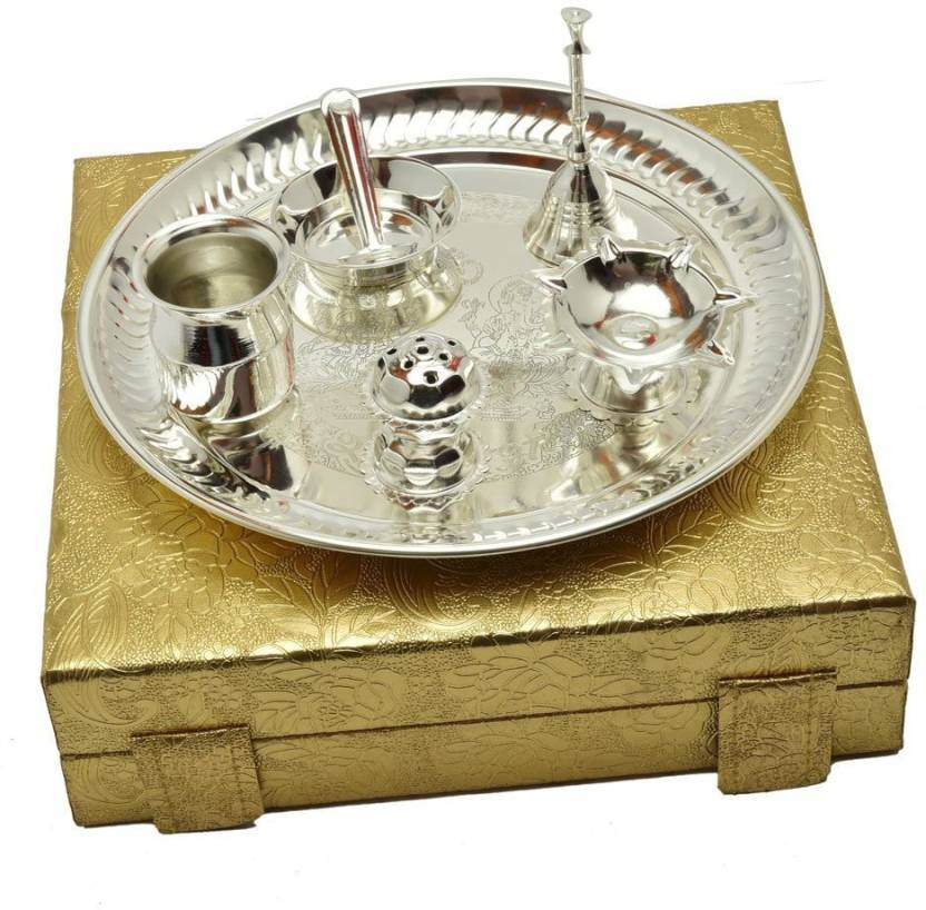 5f6829a606c2 INTERNATIONAL GIFT German Silver Pooja Thali Set (7 Pcs Set)With Gold Box  Exclusive