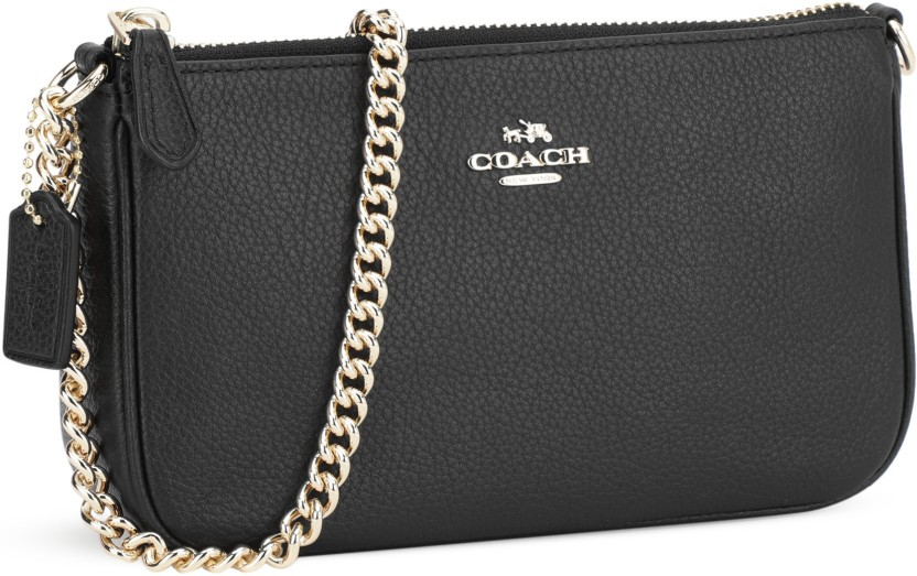 coach women evening party black genuine leather sling bag liblk rh flipkart com