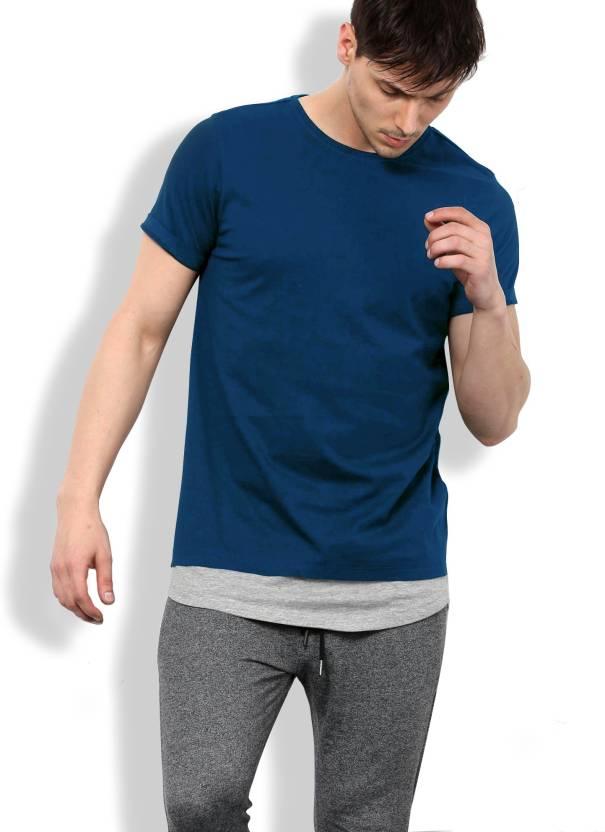 d63aa0d1584 Maniac Solid Men Round Neck Dark Blue, Grey T-Shirt