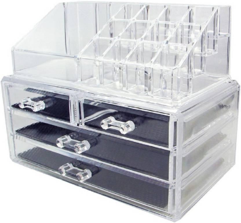 db195eacf WDS World Makeup Cosmetic Jewelry Organizer Acrylic Box Makeup and Jewellery  Vanity Box (Transparent) Makeup Vanity Box (Transparent)