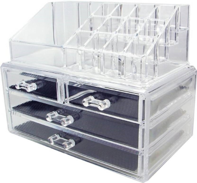 WDS Cosmetic Jewellery makeup Storage Box kit with 3 Drawers Clear Acrylic  Stand and organizer Makeup, Jewellery Vanity Box Jewellery, Makeup Vanity