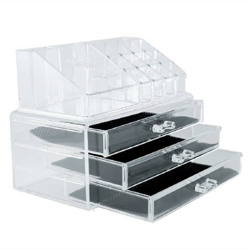 1653100cf056 WDS Cosmetic Jewellery makeup Storage Box kit with 4 Drawers Clear Acrylic  Stand and organizer Makeup, Jewellery Vanity Box (Clear) Makeup Vanity Box  ...