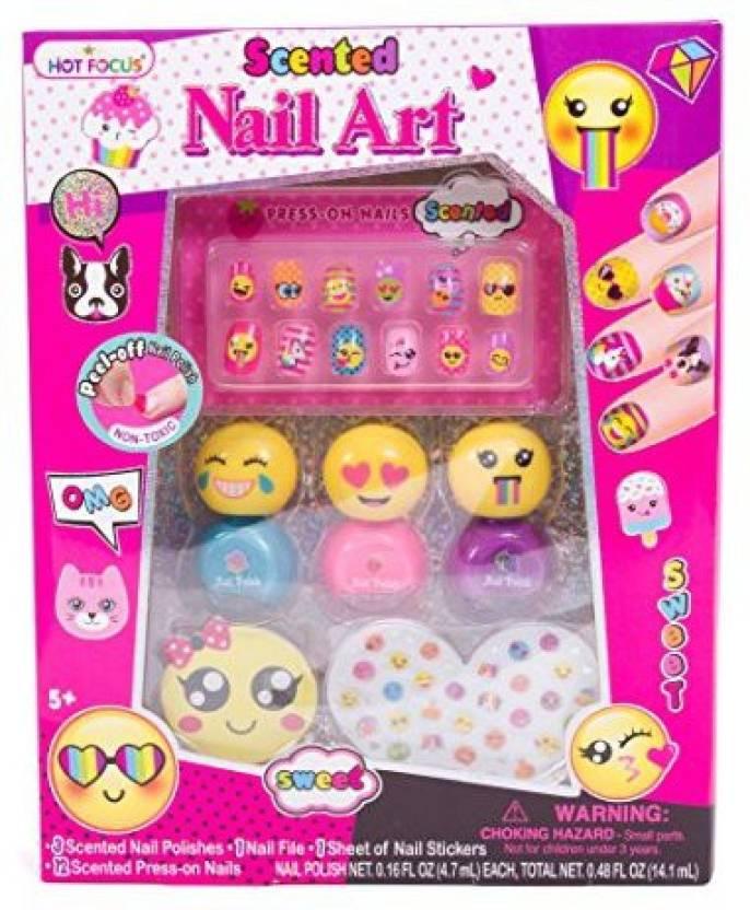 Hot Focus Scented Nail Art Kit Emoji Girls Nail Kit Includes 12