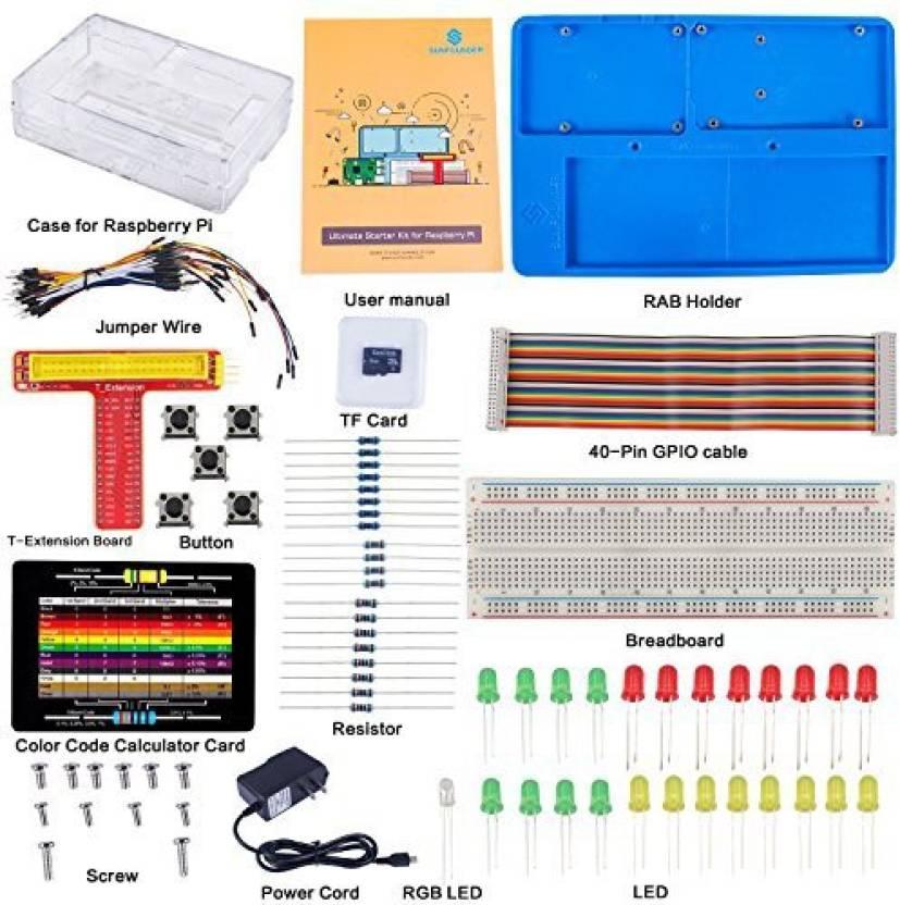 SunFounder Raspberry Pi 3/2/B+ Ultimate Starter Kit 8G Tf