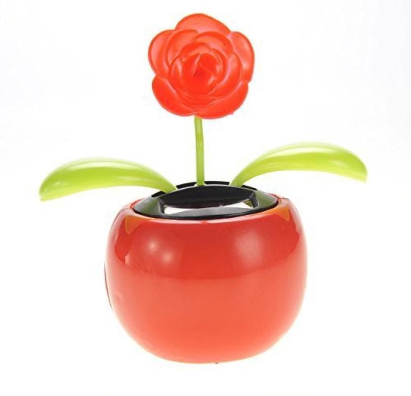 220 & AMPERSAND SHOPS Solar Powered Dancing Flower Pot (Red Flower ...