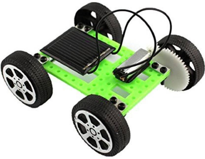 Naladoo 1 Set Mini Solar Powered Toy Diy Car Kit Children