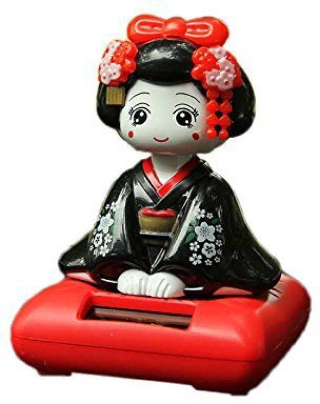 Generic Lanlan Solar Energy Ed Bobblehead Toy Dancing Anese Kimono Maiko Geisha Car Home Decoration Articles Red Base Multicolor