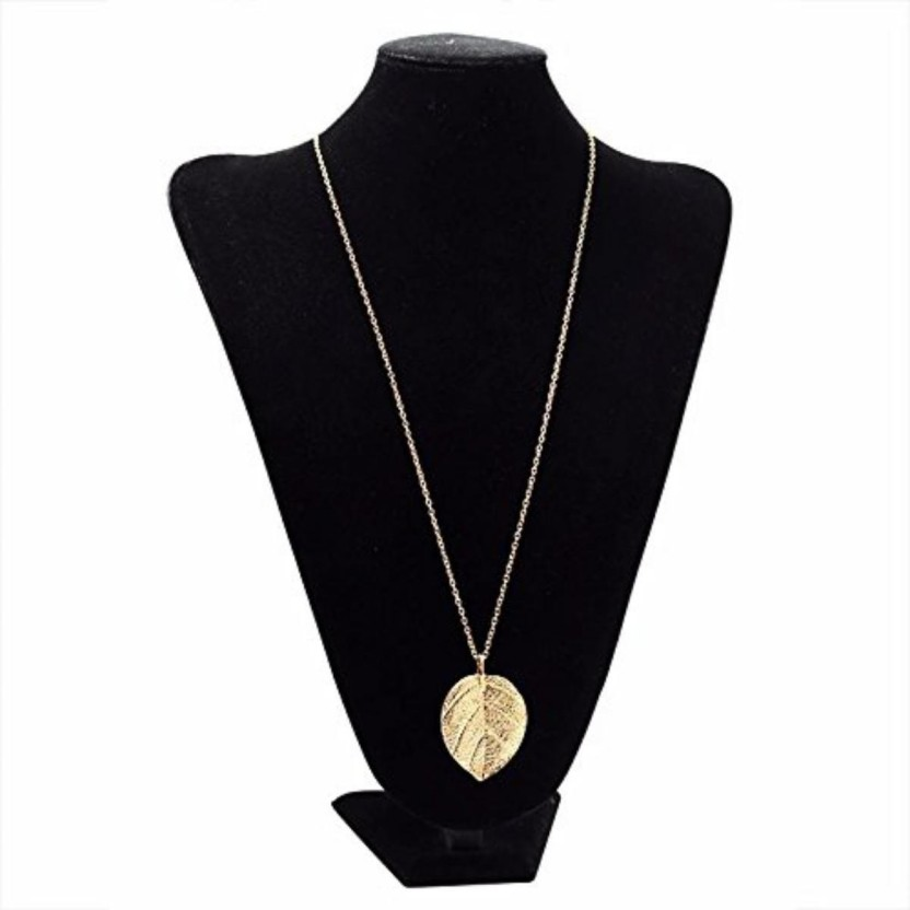 Elegant Women Boho Leaf Feather Pendant Gold Plated Tassel Long Chain Necklace