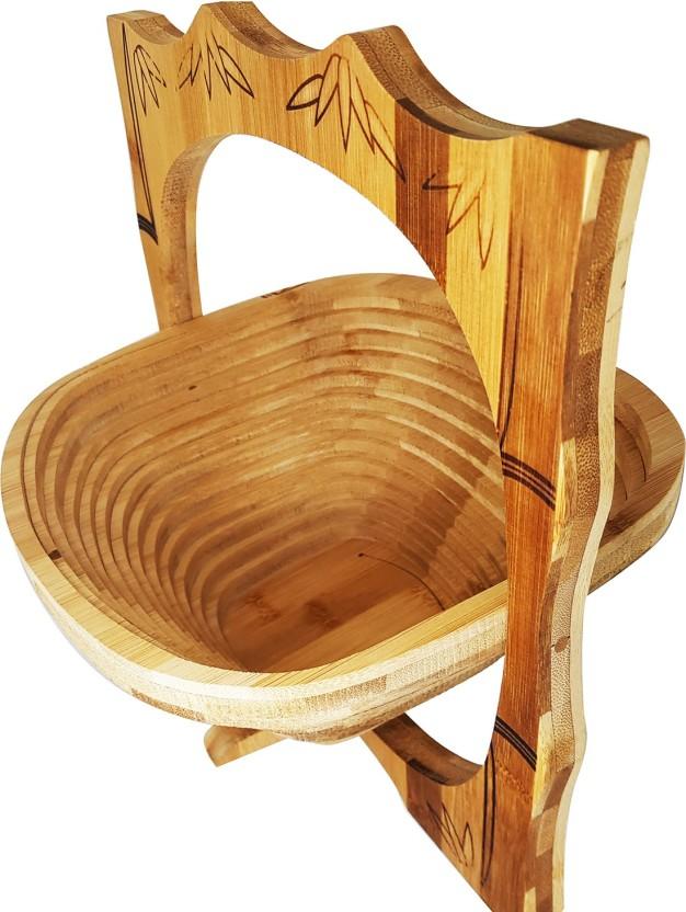 Fruit Display Kitchen Decor Gift Apple Basket Folding Renewable Bamboo Brown