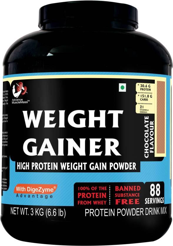 77dd7b900fa Advance MuscleMass Weight gainer Supplement Powder (Chocolate) 3 Kg 6.6 Lb  (29