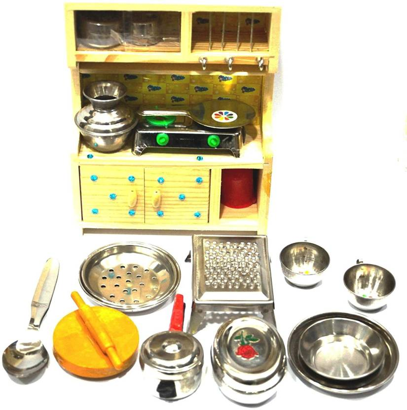 Shrih Stainless Steel Toy Kitchen Set With Wooden Stand Stainless