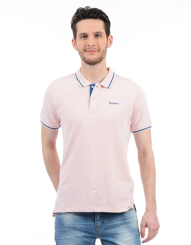 7ff8af60df51 Pepe Jeans Color block Men Polo Neck Pink, Blue T-Shirt - Buy Pepe Jeans  Color block Men Polo Neck Pink, Blue T-Shirt Online at Best Prices in India  ...