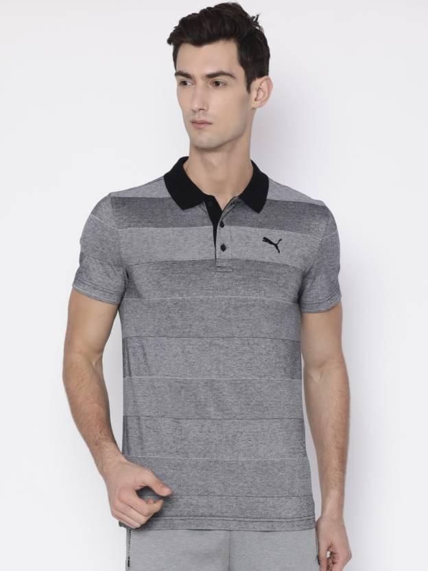 00164afadb Puma Striped Men Polo Neck Grey T-Shirt - Buy Puma Striped Men Polo Neck  Grey T-Shirt Online at Best Prices in India | Flipkart.com