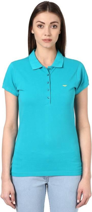905d0d9c Park Avenue Solid Women Polo Neck Green T-Shirt - Buy Park Avenue ...