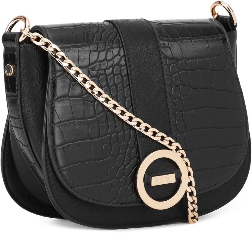 405fe18710b2 Dune London Women Casual Black Genuine Leather Sling Bag BLACK-CROC - Price  in India