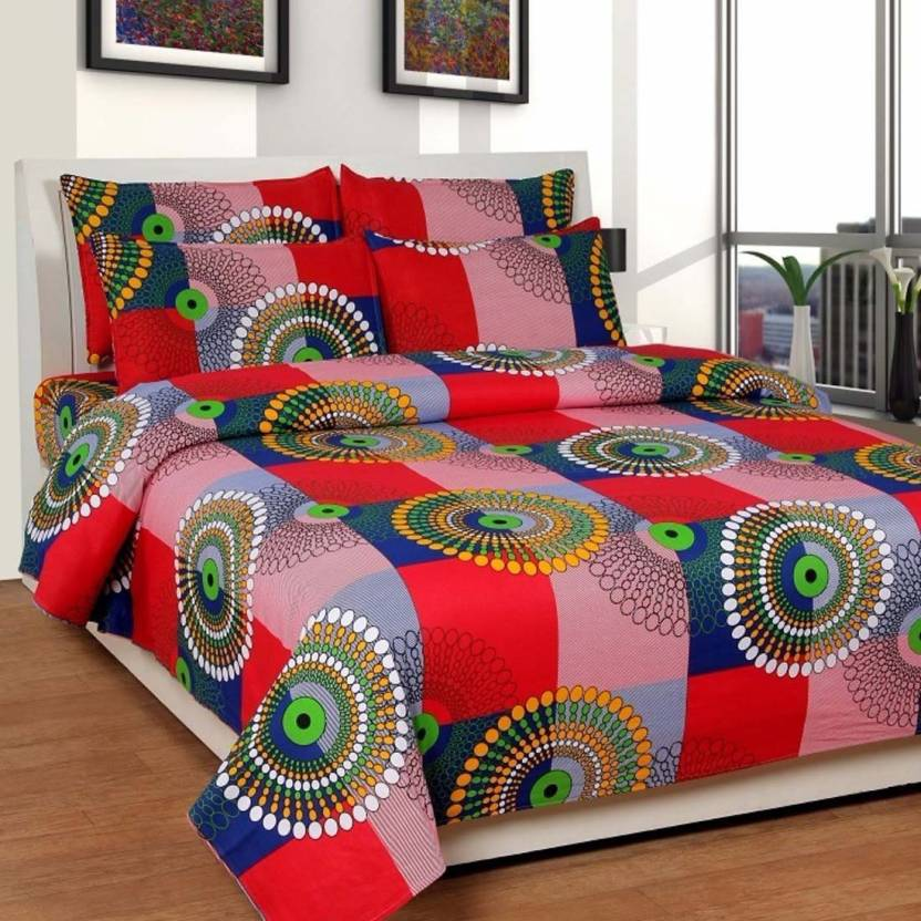c5b763fa55 Hari Enterprises 300 TC Cotton Double Printed Bedsheet (Pack of 3, Red)