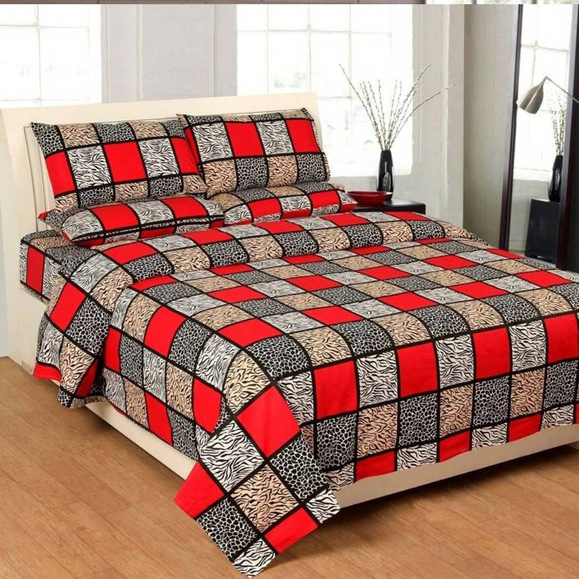 b6f11741d1 Hari Enterprises 300 TC Cotton Double Checkered Bedsheet (Pack of 3, Red)