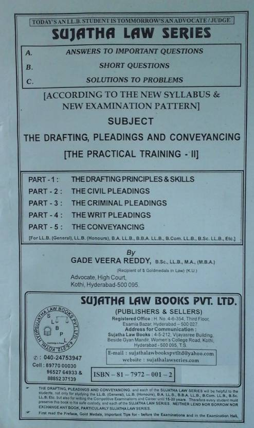 The Drafting, Pleadings and Conveyancing (The Practical