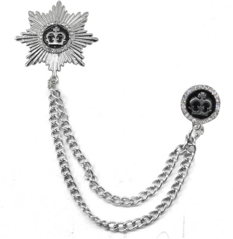 Sullery King Crown Metal Brooch Pin Men Women Chain Crystal Rhinestone  Tassel Brooch Brooch
