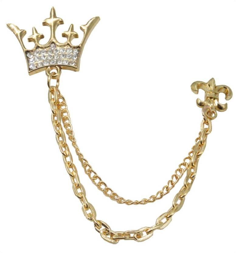 958013c00fbc Sullery King Crown Metal Brooch Pin Men Women Chain Crystal Rhinestone  Tassel Brooch Brooch (Gold)