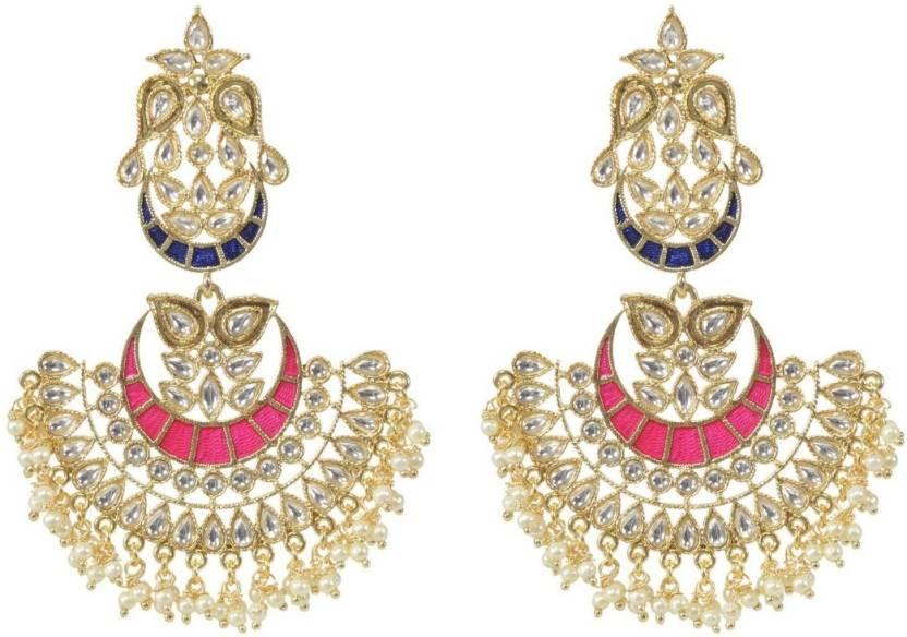 Smartcraft Double Kundan Earring Upper Blue Lower Pink Premium Fancy Designer Earrings For