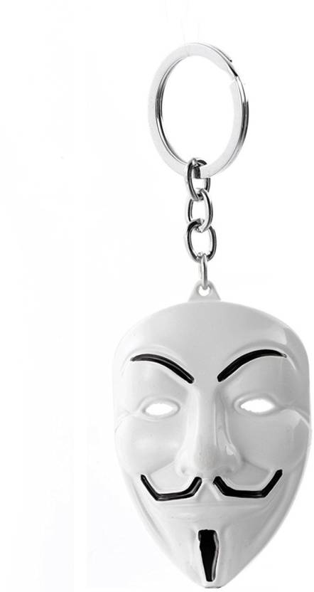 GCT V for Vendetta Inspired Anonymous Hacker Face Mask Character  Collectible White Metal Keyring for Men Women Boys Girls Car Bike Key Chain  Price in India ... c23deda9613b